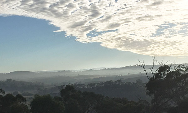 Misty valley view